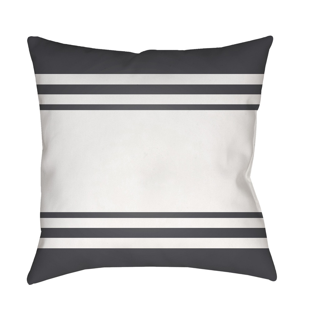 Charcoal and White Lake Stripes Outdoor Pillow by Surya